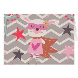 Girl Superhero Bunny Greeting Card