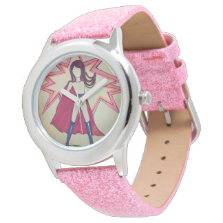 Girl Superhero  pink watch