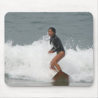 Girl Surfing Mouse Pad