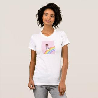 Girl Surfs Rainbow on Marshmallow T-Shirt
