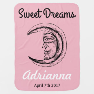 Girl Sweet Dreams Personalized Crescent Moon Pink Baby Blanket