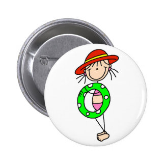 Girl Swimming Stick Figure Button