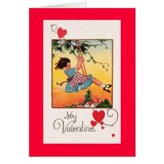 Girl Swinging Valentine Card