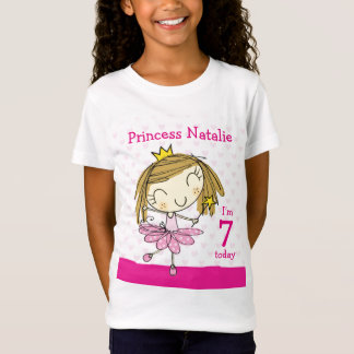 GIRL T-SHIRT Age 7 cute pink princess 7th Birthday