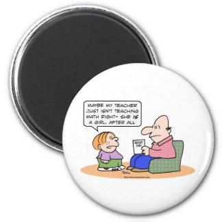 girl teacher teach math right report card fridge magnets