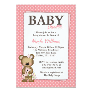 "Girl Teddy Bear Baby Shower Pink Dots Invitation 5"" X 7"" Invitation Card"