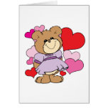 girl  teddy bear in love lots of hearts design greeting cards