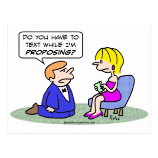 Girl texts while guy proposes. postcard
