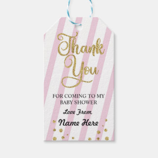Girl Thank You Baby Shower Stripe Pink Glitter Gift Tags