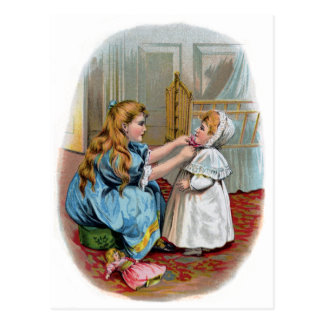 Girl Ties Bonnet on Baby Postcard