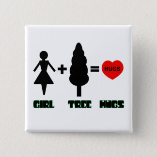 Girl+Tree=Hugs 2 Inch Square Button