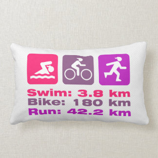 Girl Triathlete Pink Purple Magenta Swim Bike Run Lumbar Pillow