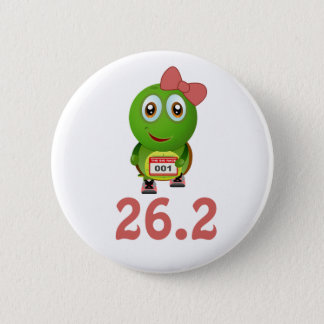 Girl Turtle 26.2 (marathon) 2 Inch Round Button