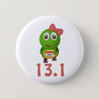 Girl Turtle Runner 13.1 2 Inch Round Button