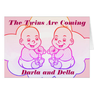 Girl Twins Are Coming Baby Shower Card