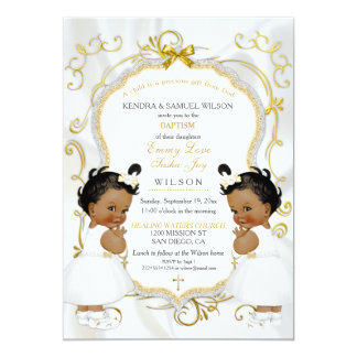 Girl Twins Baptism Christening Gold Ethnic Card