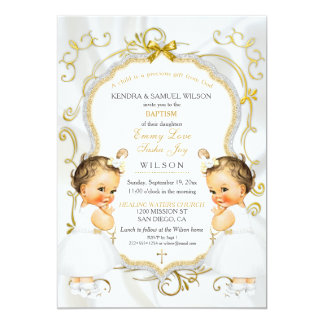Girl Twins Baptism Christening Gold White Cross Card