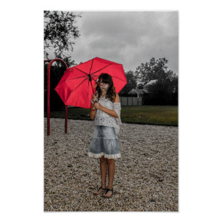 Girl Umbrella Park Rain Poster