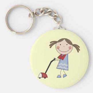 Girl Vacuuming Tshirts and Gifts Keychain