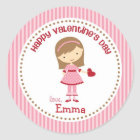 Girl Valentine Stickers (Pink) - Children Kids