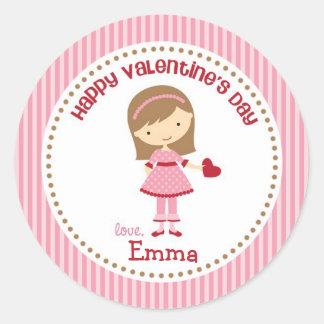 Girl Valentine Stickers (Pink) - Children Kids