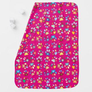 Girl Vivid Pink Pastel Cat Paw Print Baby Blanket