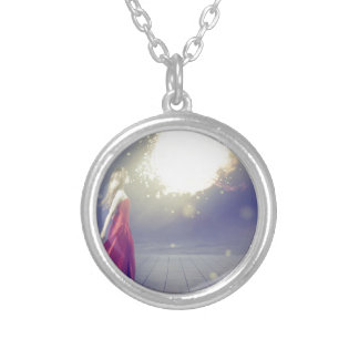 Girl vs. a Meteor Silver Plated Necklace
