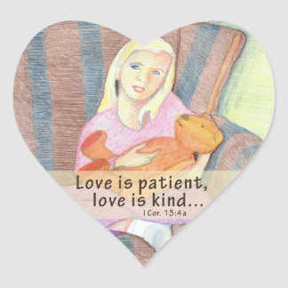 Girl w Teddy Bear Heart Stickers – Love Is Patient