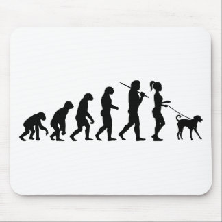 Girl Walking A Dog Mouse Pads