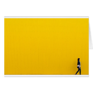 Girl Walking Against Enormous Yellow Wall Card
