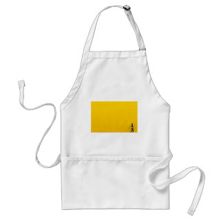 Girl Walking Against Enormous Yellow Wall Standard Apron