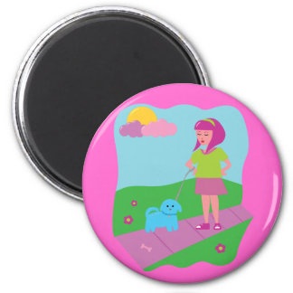 Girl Walking Dog 2 Inch Round Magnet