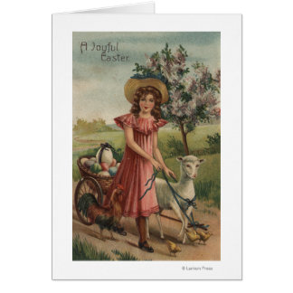 Girl Walking Lamb, Chick, and Rooster Greeting Card