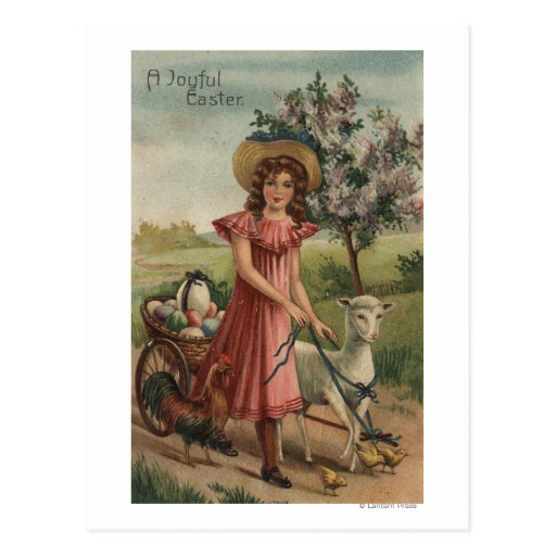 Girl Walking Lamb, Chick, and Rooster Post Card