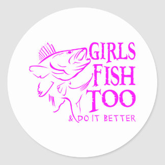 GIRL WALLEYE FISHING ROUND STICKER