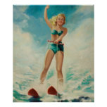 Girl Water Skiing Pin Up Art Poster
