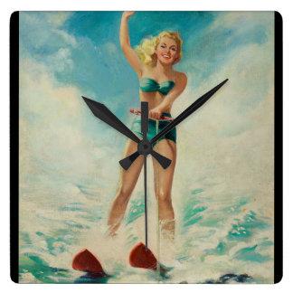 Girl Water Skiing Pin Up Art Square Wall Clock