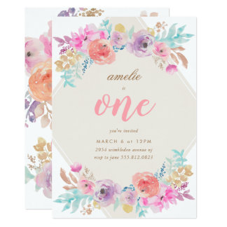 Girl Watercolor Flowers First Birthday Invitation