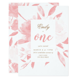 Girl Watercolor Pink First Birthday Invitation