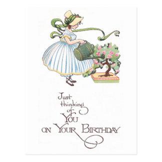Girl Watering Bonsai Vintage Birthday Postcard