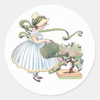 Girl Watering Bonsai Vintage Birthday Round Sticker
