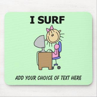 Girl Web Surfing Customizable Mousepad