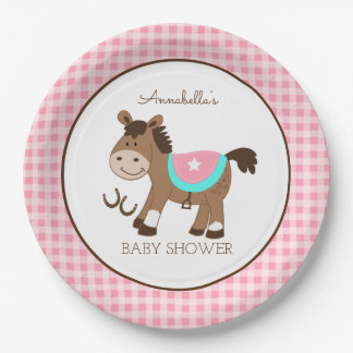 Girl Western Horse Cowgirl Theme Paper Plate 9 Inch Paper Plate