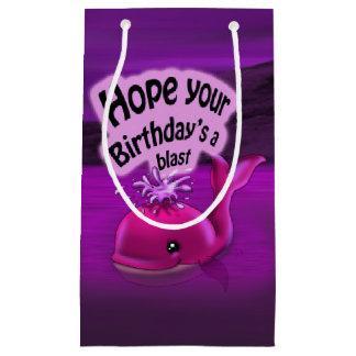 Girl Whale Birthday Gift Bag - Small, Glossy