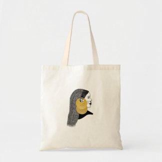 Girl with القمر بوبا earrings tote bag