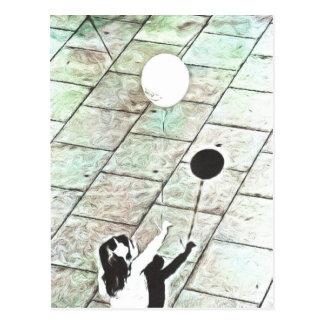 Girl with a balloon postcard
