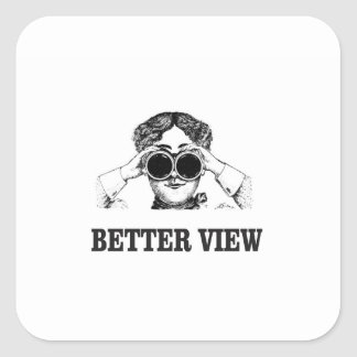 girl with a better view square sticker
