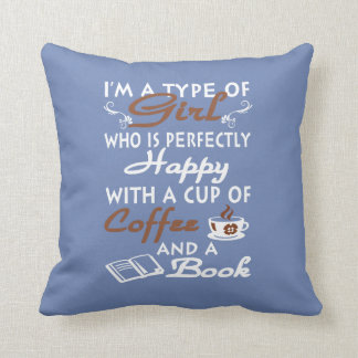 Girl with a cup of coffee and a book throw pillow