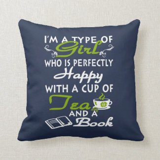 Girl with a cup of tea and a book throw pillow