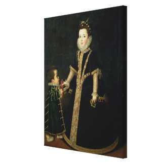 Girl with a dwarf, thought to be a portrait canvas print